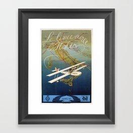 Vintage 1920s Island plane shuttle Italian travel Framed Art Print