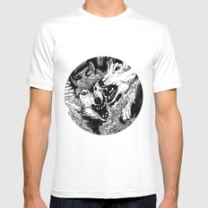 wolf MEDIUM White Mens Fitted Tee