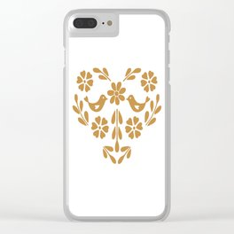 Golden heart shaped floral and bird Clear iPhone Case