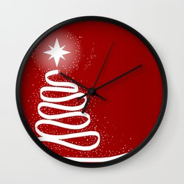 Red Scrible Christmas Tree Wall Clock