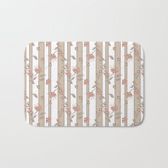 Retro . Floral pattern on a beige striped background . Bath Mat