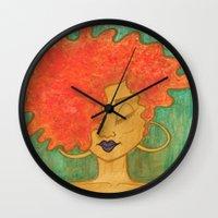 lydia martin Wall Clocks featuring Lydia by ChanelChristoffDavis
