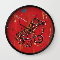 skate Wall Clocks featuring Skate by Robin Lee Artist