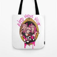 dangan ronpa Tote Bags featuring Blood Makes Noise by AMC Art