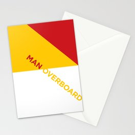 Man Overboard Boat Flags Stationery Cards