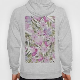 Tropical hand painted green magenta watercolor floral Hoody
