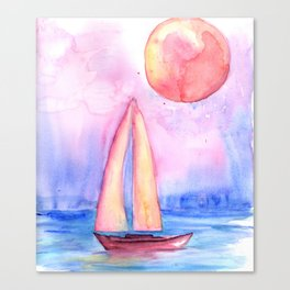 sail under the moon Canvas Print