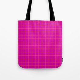 Magenta with Orange Grid Tote Bag