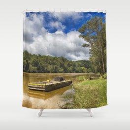 Pontoon on the Barron River Shower Curtain