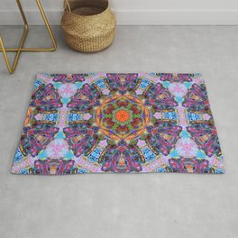 Mandala with colorful collage Rug