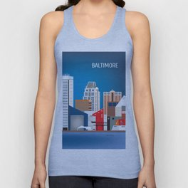 Baltimore, Maryland - Skyline Illustration by Loose Petals Unisex Tank Top