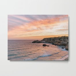 Sunset at Paradise Beach | Orange Sky | Travel Photography Metal Print