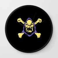 skeletor Wall Clocks featuring Skeletor jolly roger by Buby87