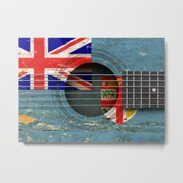 Old Vintage Acoustic Guitar with Fiji Flag Metal Print