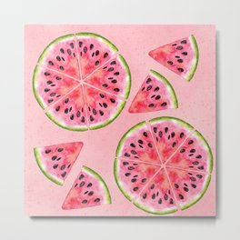 pink watermelon pattern Metal Print