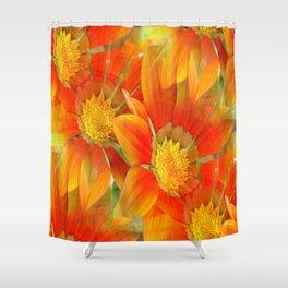 Seamless Pattern Of Vibrant Orange Gazania Flower Shower Curtain