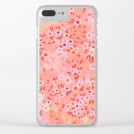 Little flowers on coral, peach and pink Clear iPhone Case