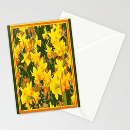 Olive Green Golden Daffodils Garden Abstract Art Stationery Cards