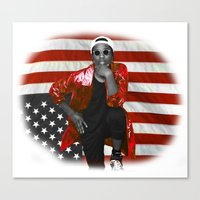 asap rocky Canvas Prints featuring ASAP Rocky American Flag by JuanTon