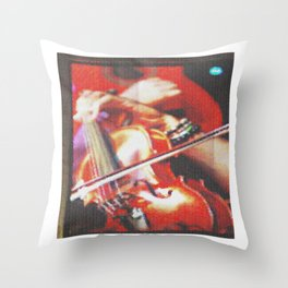 Spanish guitar and violin on television pie Throw Pillow