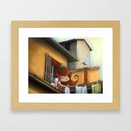 """""""hanging books"""" Framed Art Print"""