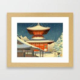 Asano Takeji Views of Wakayama Koyasan Nemoto Big Pagoda Japanese Woodblock print Framed Art Print