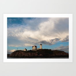Cloudy day over Nubble Lighthouse Art Print