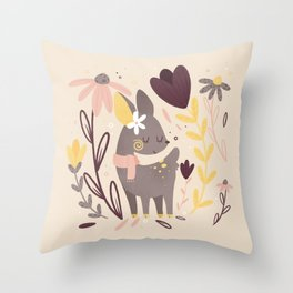 Tiny Deer with Florals || Soft Blush Yellow Palette Throw Pillow