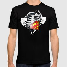Skeleton Rib Cage With Superman Tag Mens Fitted Tee Black X-LARGE