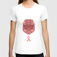 master chief T-shirts featuring Pink  Halo Master Chief Helmet by RoboKev