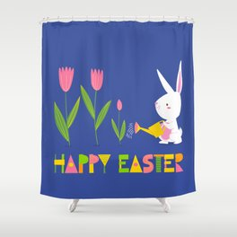 Happy Easter - White Bunny and Pink Tulips on Dark Blue Shower Curtain