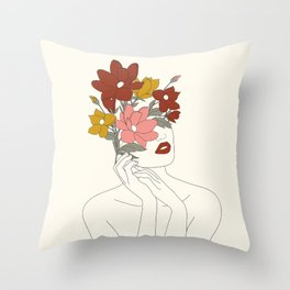 Colorful Thoughts Minimal Line Art Woman with Magnolia Throw Pillow