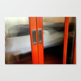 Ribbed Glass Doors - A Half Made Bed Canvas Print