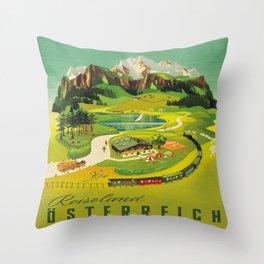 Austria Vintage Mid Century Modern Travel Poster Beautiful Green Mountain Landscape Diagram Throw Pillow