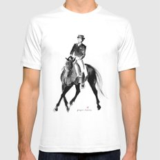 Horse (Dressage / half pass) MEDIUM White Mens Fitted Tee