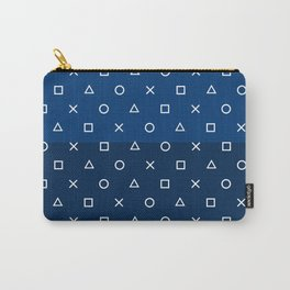 Gamepad Symbols Pattern - Navy Blue Carry-All Pouch