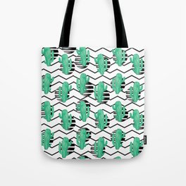 cacti + black Tote Bag