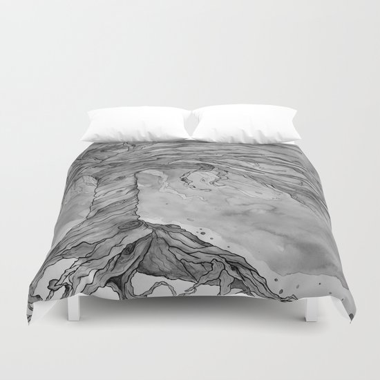 Tree of Life (Grey Scale) Duvet Cover