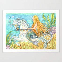 MERMAID AND SEA STALLION - Brack Fantasy Art Print