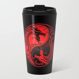 Yin Yang Dragons Red and Black Travel Mug