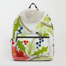 Winter Watercolor Florals Red & White Backpack
