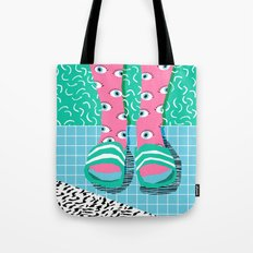 Chillax - memphis throwback style retro classic 1980s 80s grid pattern socks fashion apparel Tote Bag
