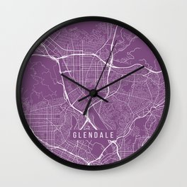 Glendale Map, USA - Purple Wall Clock