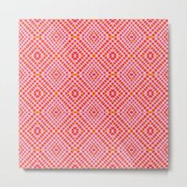 Interference Grid Pink - Optical Series 012 Metal Print