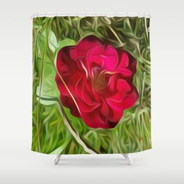 Evelyn's Red Rose Shower Curtain