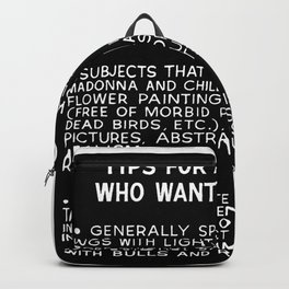 Tips For Artists in Black Backpack