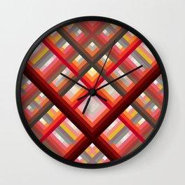 Revenant - Red Warm Stripes Grid Pattern Wall Clock
