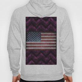 Byzantium Purple Digital Camo Chevrons with American Flag Hoody
