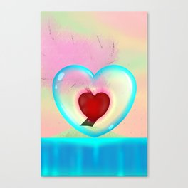 heart in a bubble Canvas Print