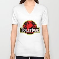 toilet V-neck T-shirts featuring Toilet Park by Toilet Club
